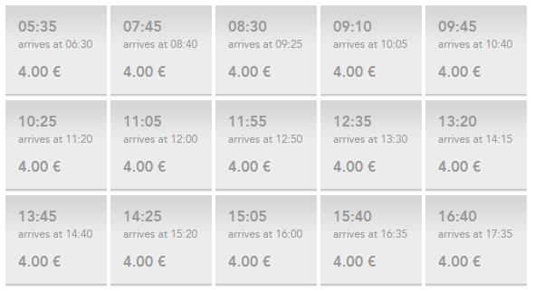 Расписание отправления автобусов до станции Термини.