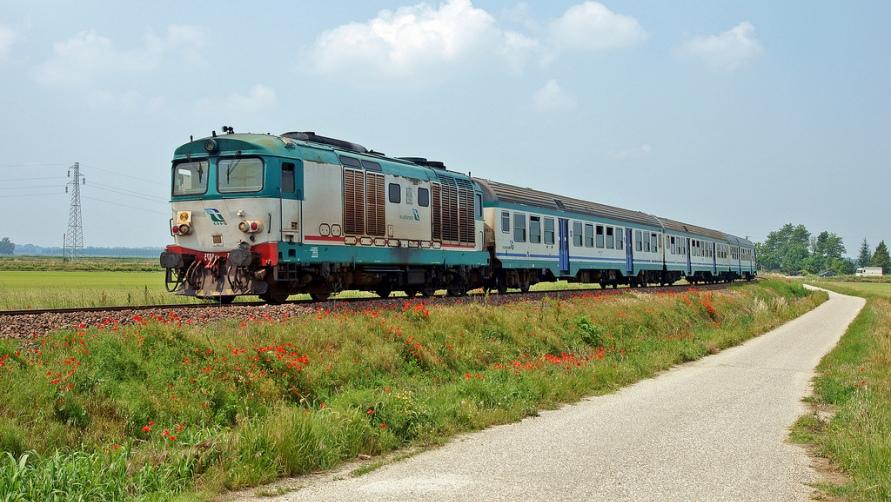 Поезд и поле с маками