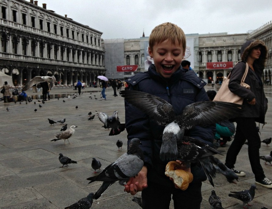 Покормите голубей на площади Сан-Марко.