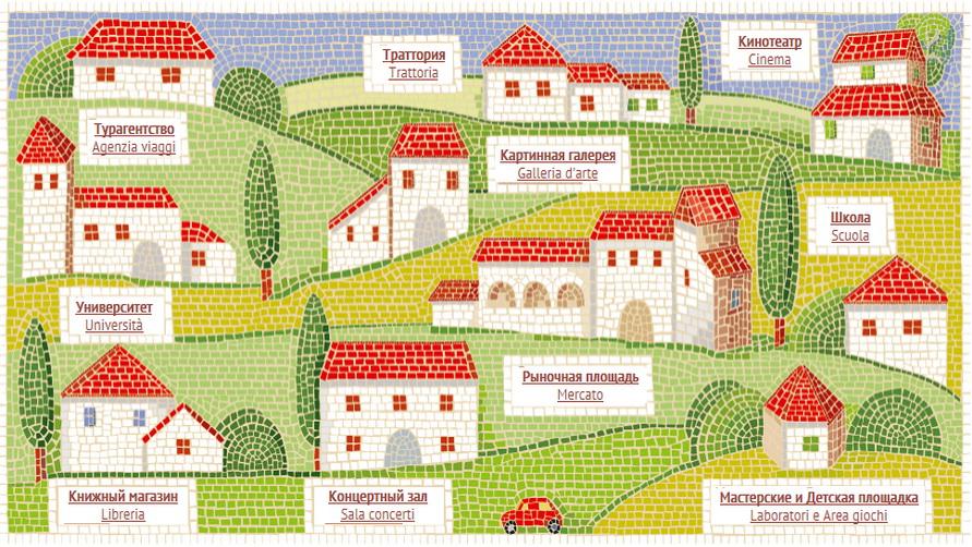 деревушка в Италии — мозаика.