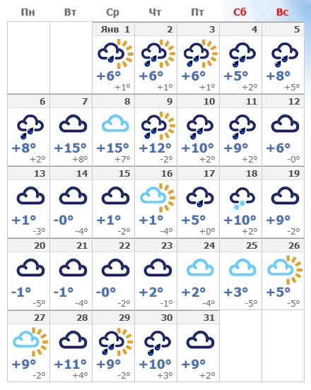 Погодные условия в январской Флоренции в 2020 году.