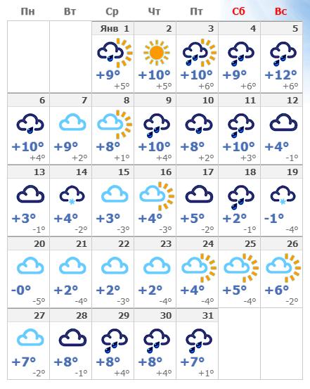 Погодные условия в столице Италии в январе 2020.